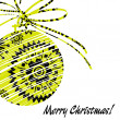 Art christmas ball in yellow and black colors with abstract patt — Stock Photo #58054233
