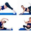 Collage of exercises for pregnant women — Stock Photo #59406371