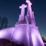 Purple Illuminated Monument of Three Crosses in Vilnius — Stock Photo #68656137