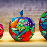 Decorative fruit apples, hand-painted. Modern art. — Stock Photo #70128783