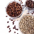Coffee beans in glass jars isolated on white — Stock Photo #63954825