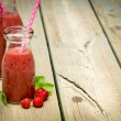 Strawberry smoothie in jar — Stock Photo #52887733