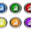 Set of rounded colorful buttons with success symbol — Stock Photo #58909625