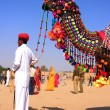 Indian man standing with his decorated camel at Desert Festival, — Stock Photo #55028221
