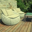 White outdoor furniture on wood resort terrace — Stock Photo #69249635
