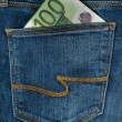 One hundred euro in the jeans pocket — Stock Photo #66042661