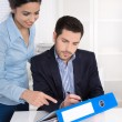 Successful business team: man and woman working together in posi — Stock Photo #57686075