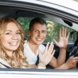 Young couple in the car — Stock Photo #75806799