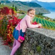 Pretty girl posing outdoor, wearing blue dress and pink pullover, shiny tennis shoes, stunning view on background — Stock Photo #59364865