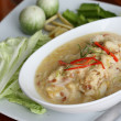 Stew crab with coconut milk dip with fresh vegatables — Stock Photo #56618941