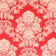 Vintage wallpaper, baroque design, red background with golden rose blossom texture — Stock Photo #58724123