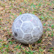 Old soccer ball on grass field — Stock Photo #57674755