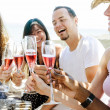 Friends toasting champagne sparkling wine — Stock Photo #65457761