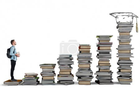 Student climbing a ladder of books