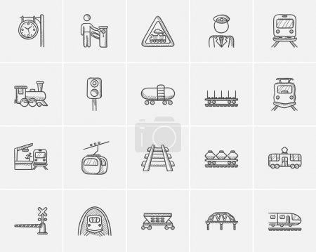 Transportation sketch icon set.
