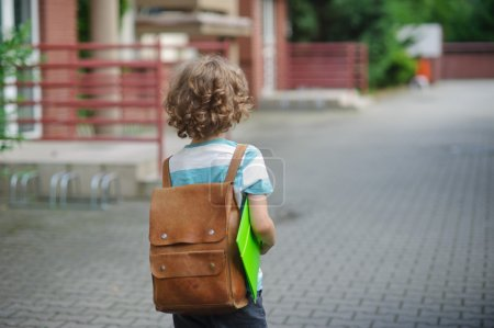 The schoolboy with a satchel on his shoulders goes to school.
