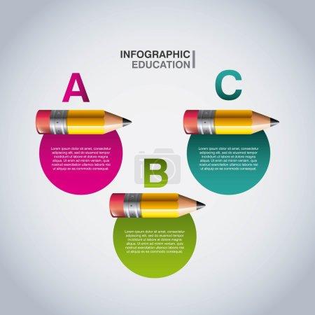 铅笔图标。信息图表设计教育。矢量图形