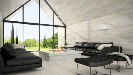 Interior of modern design living room 3D rendering 6