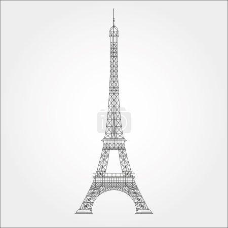 细线条埃菲尔铁塔矢量图图标-变量行
