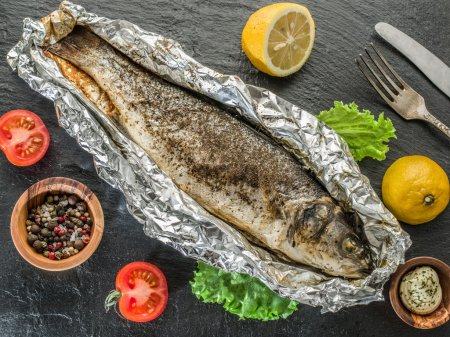 Grilled sea bass fish.