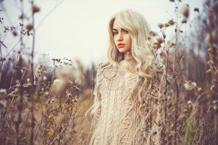 美丽的女人,在秋天的风景