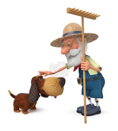 3d 插图与一只狗和一把犁耙农夫