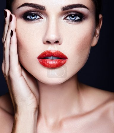 Sensual beautiful woman model lady with fresh daily makeup and clean healthy skin face