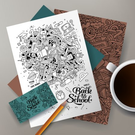 Cartoon doodles Back to school corporate identity set