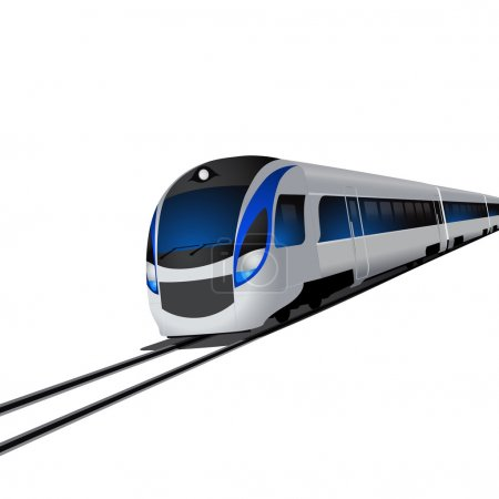 Modern high speed train, isolated on white