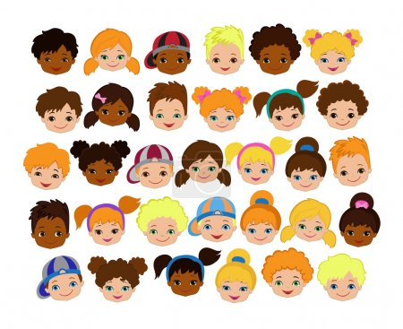 Set of cartoon children's faces. Cartoon child face icon.