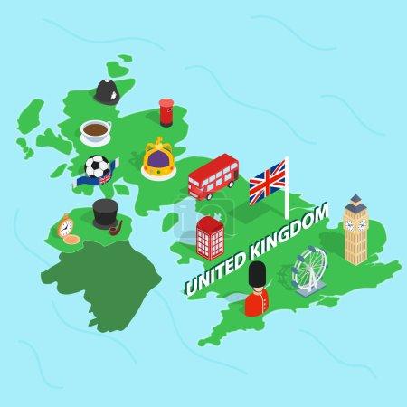 英国地图,等距 3d 风格