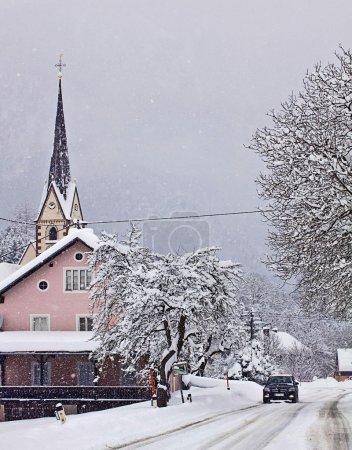 Austrian countryside under heavy snowfall