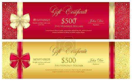 带边框由闪闪发光的红色和金色礼品证书