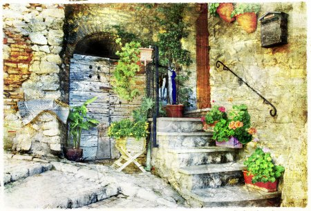 charming old streets of italian villages (Casperia), artistic pi