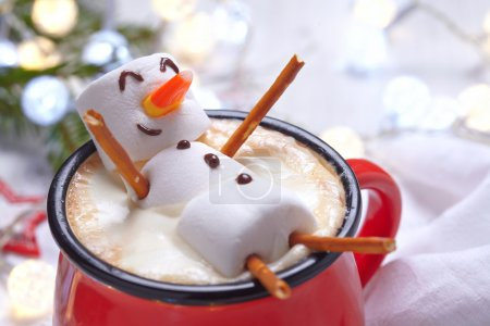 Hot chocolate with melted snowman