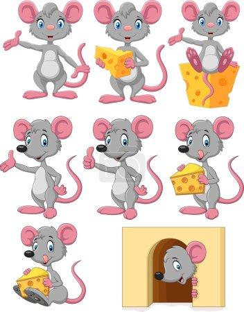 矢量图的卡通搞笑鼠标集合在白色背景上设置
