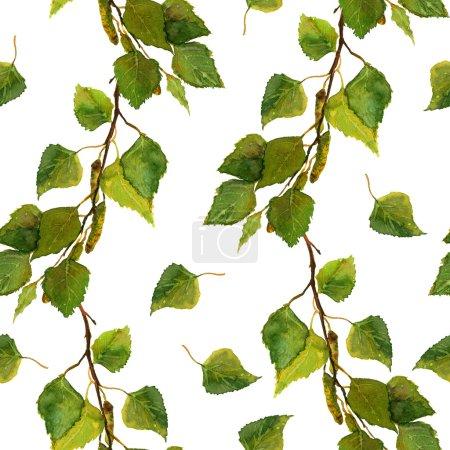 绿色的叶子的白桦树枝的白色无缝壁纸_高清图片_邑石网