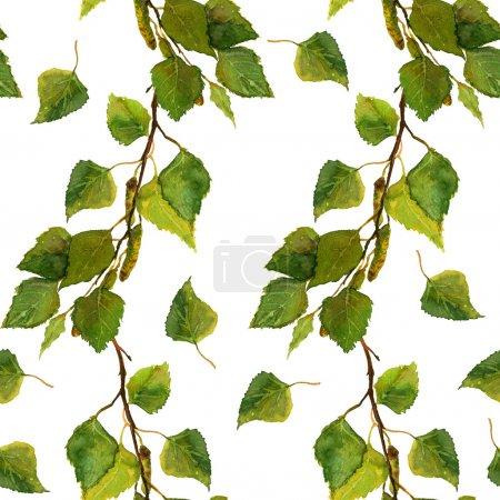 水彩画画和白桦树枝上的绿叶背景_高清图片_邑石网