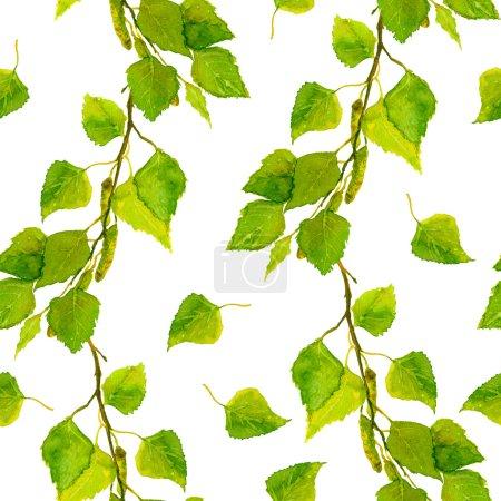 用绿色的春天树叶的桦木反复的壁纸模板_高清图片_邑石网