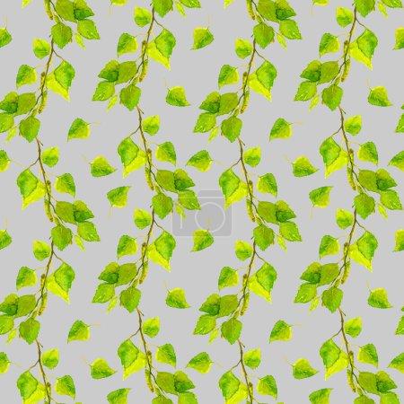 灰色无缝模式与绿色新鲜叶片桦木_高清图片_邑石网