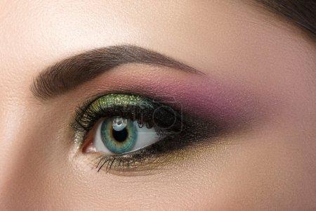 女性的蓝眼睛的特写视图_高清图片_邑石网