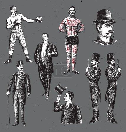 复古手绘绅士套