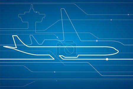 航空壁纸矢量设计线条背景,抽象飞机白线