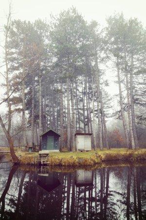 冬天与一个小湖,自然景观