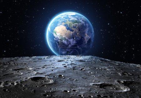 蓝色地球从月球表面看