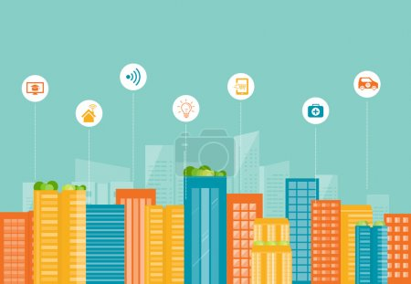 business smart city.internet connection.social network communication