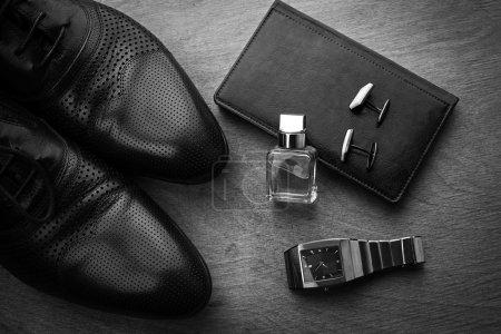 男性时尚。男子配件,静物。业务外观