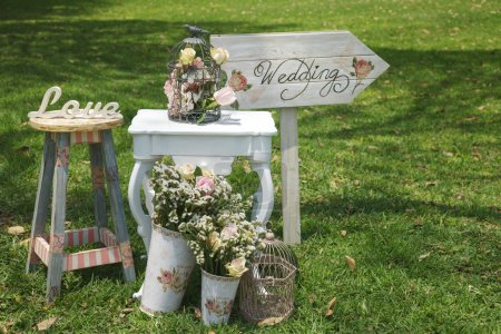 Wood hand made welcome wedding decoration