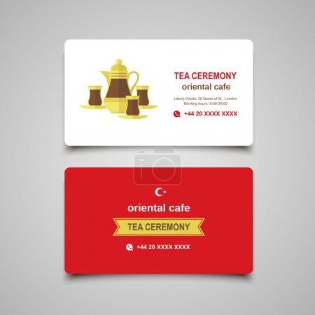 Turkish traditional Tea set. Flat modern business card concept for food industry