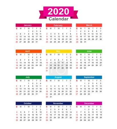 到 2020 年的日历上白色背景矢量怡乐思孤立_高清图片_邑石网